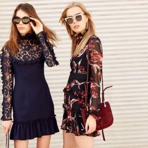 Nicholas Red/Black floral ruffle dress